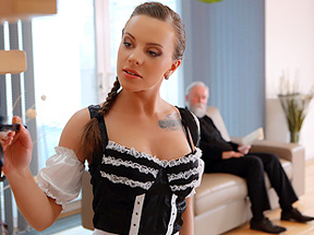 Sexy maid serves old man