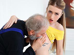 Old man fucks a fresh babe