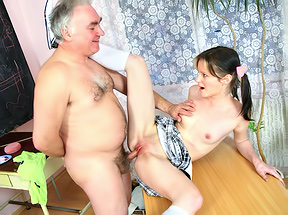 Gal fucked by two old teachers